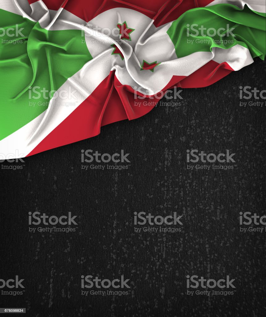 Burundi Flag Vintage on a Grunge Black Chalkboard With Space For Text stock photo