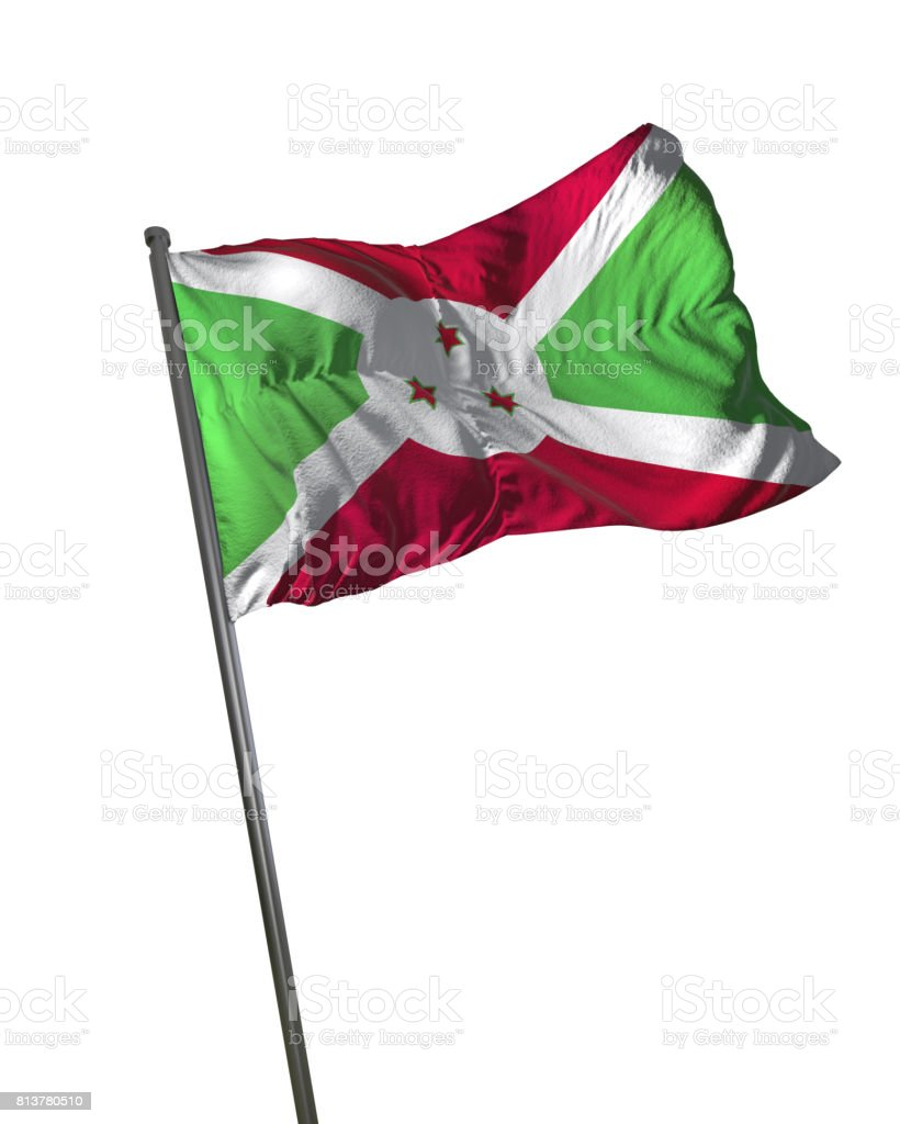 Burundi Flag Waving Isolated on White Background Portrait stock photo