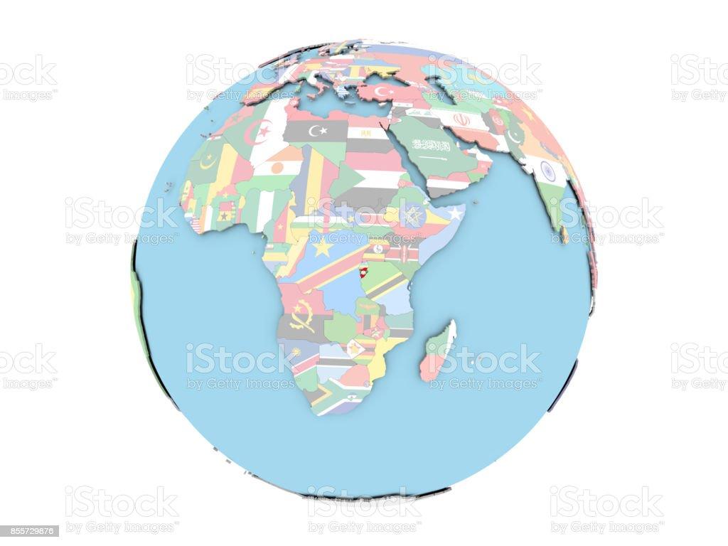 Burundi on globe isolated stock photo