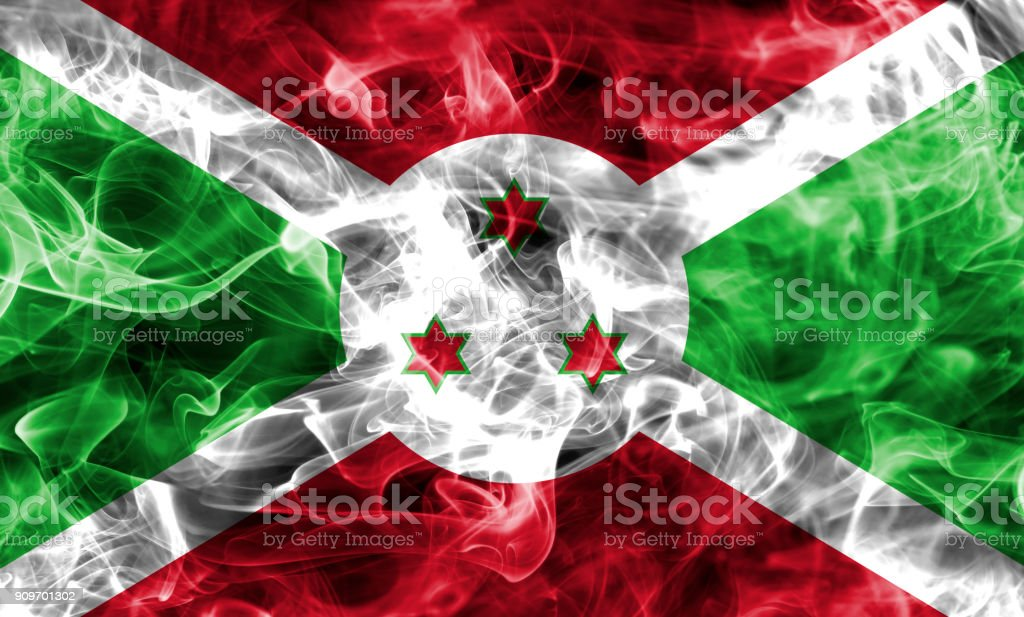 Burundi smoke flag stock photo