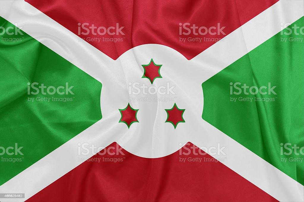 Burundi - Waving national flag on silk texture stock photo