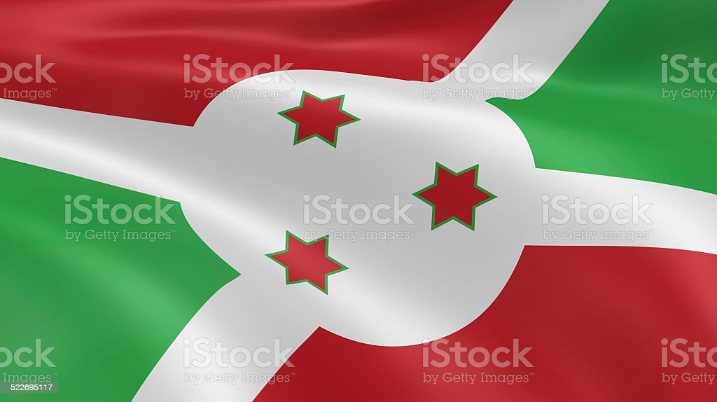 Burundian flag in the wind stock photo