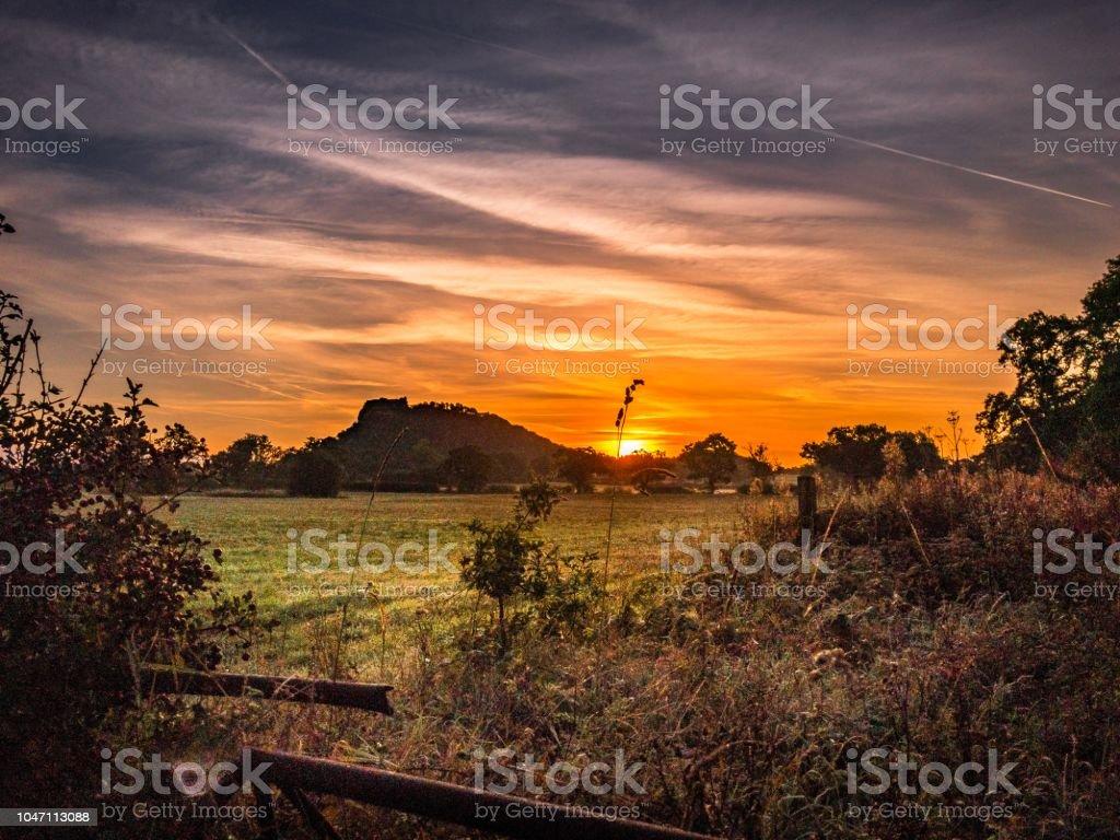 Burwardsley rural sunrise on a cool morning stock photo