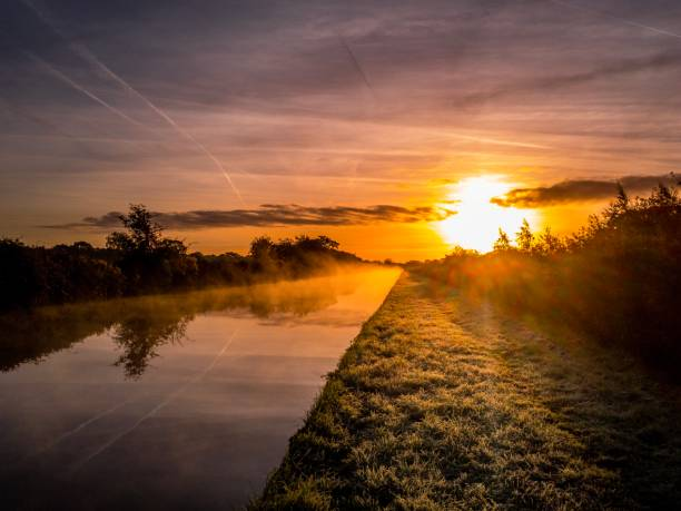 Burwardsley sunrise rural Chester Cheshire stock photo