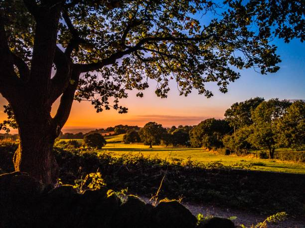 Burwardsley sunset rural view Chester Cheshire stock photo