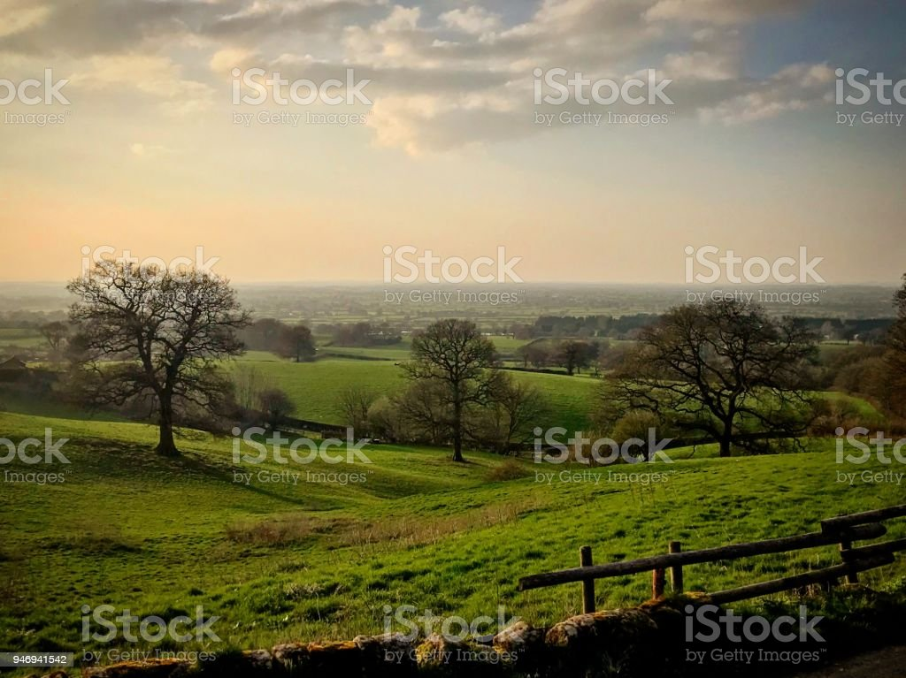 Burwardsley view of the Cheshire Plains stock photo