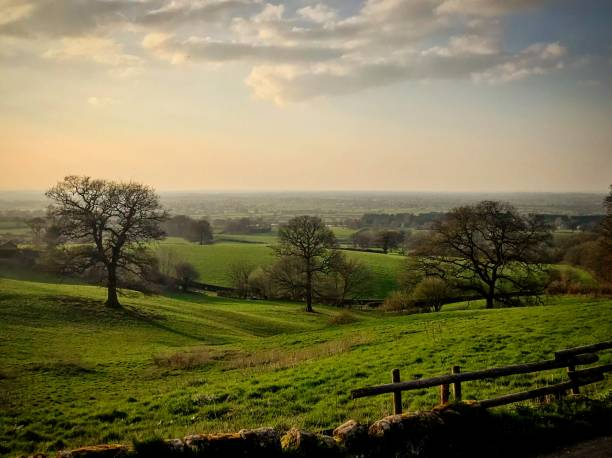 Burwardsley view of the Cheshire Plains stock photo