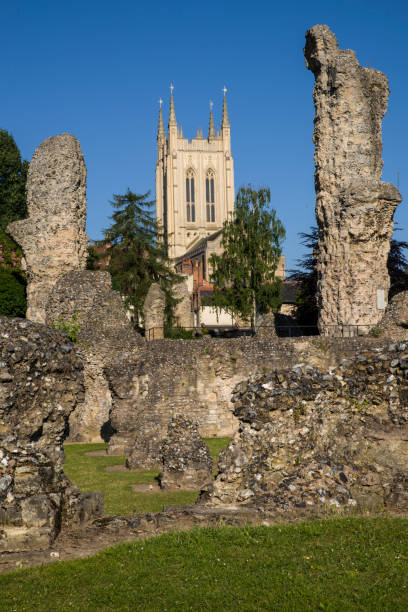 bury st edmunds abtei und st edmundsbury kathedrale in suffolk, uk - ipswich town stock-fotos und bilder