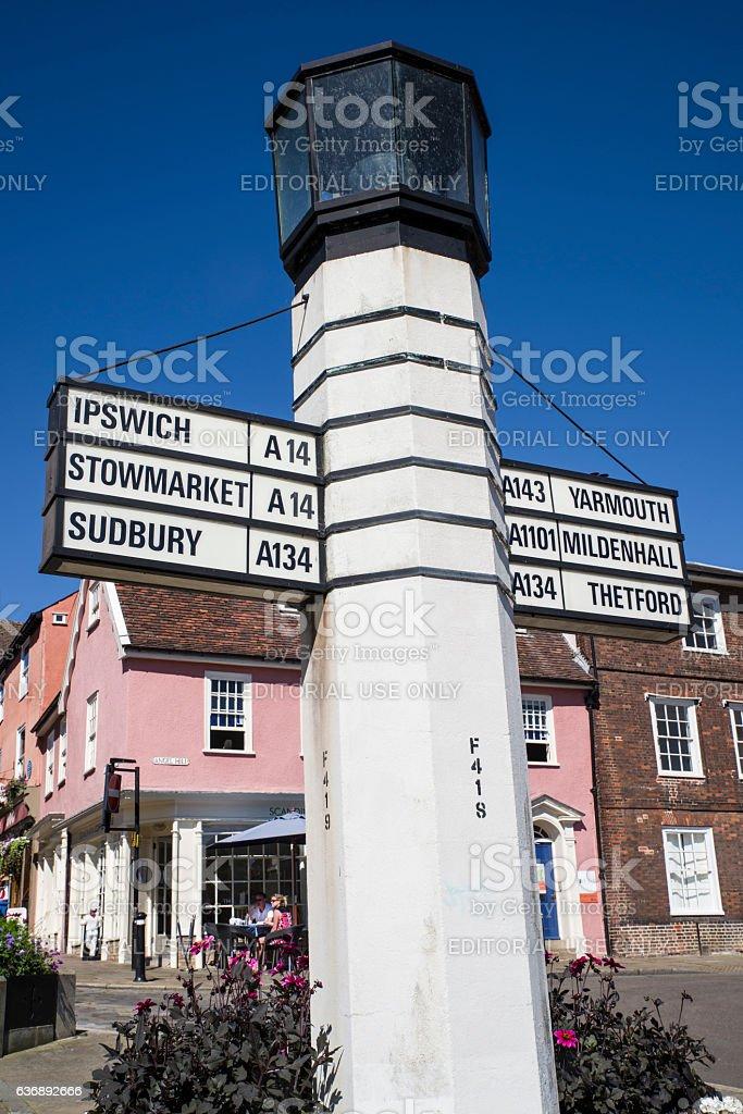 Bury St Edmunds Direction Sign stock photo