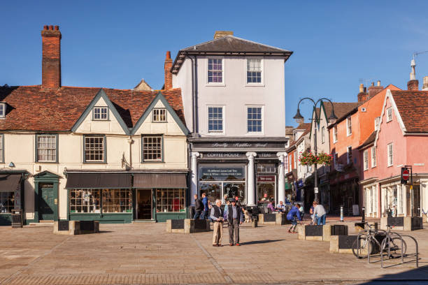 Bury St Edmunds Market Square, UK, and the Really Rather Good Coffee House stock photo