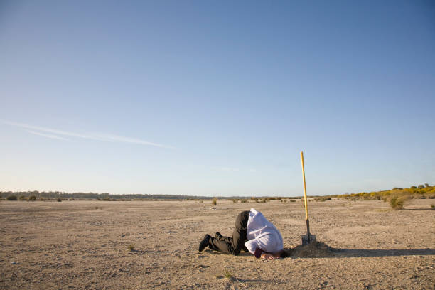 Bury Your Head A business man burying his head in sand. head in the sand stock pictures, royalty-free photos & images