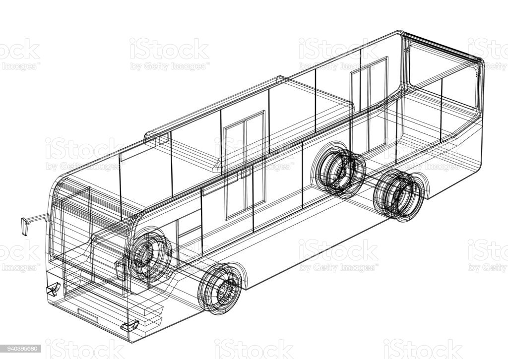 3D Plan Bus - isoliert – Foto