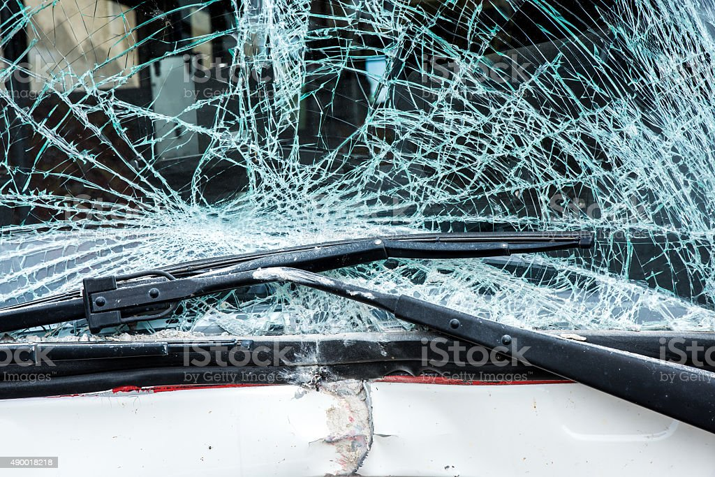Bus accident stock photo