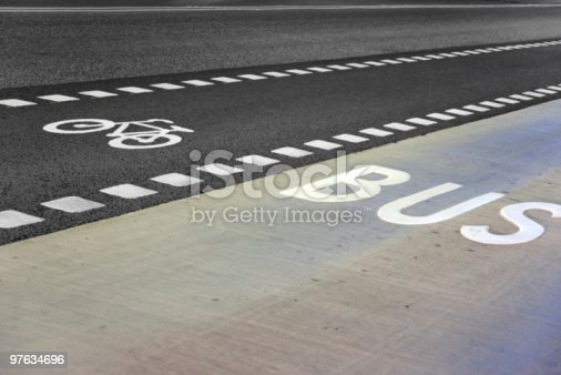 istock Bus and bicycle lane 97634696