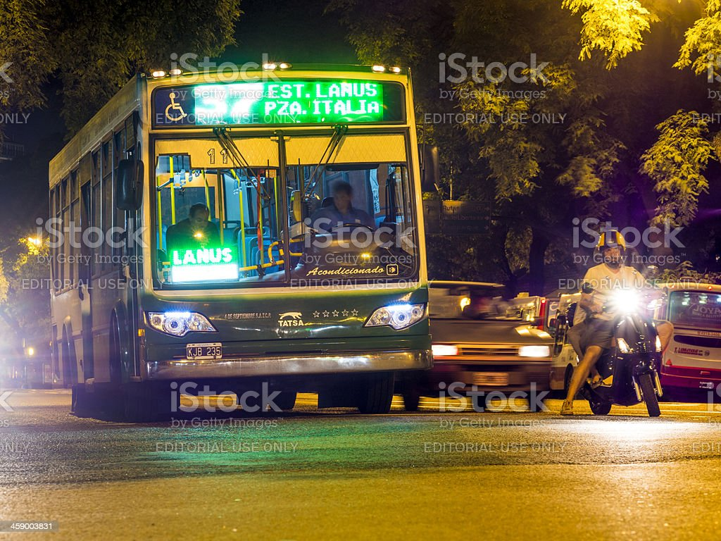 Bus and Motorcycle at an Intersection, Buenos Aires, Argentina royalty-free stock photo