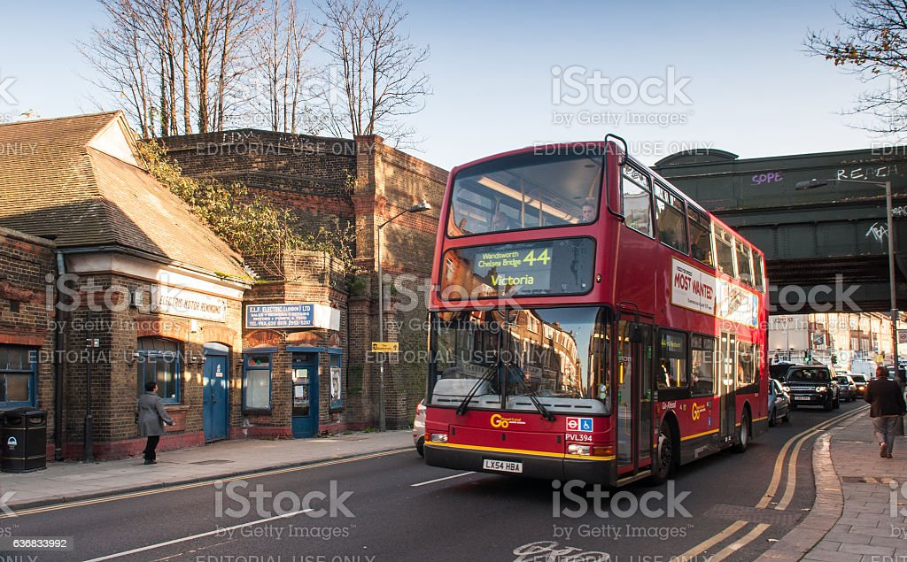 Bus at Earlsfield Station stock photo