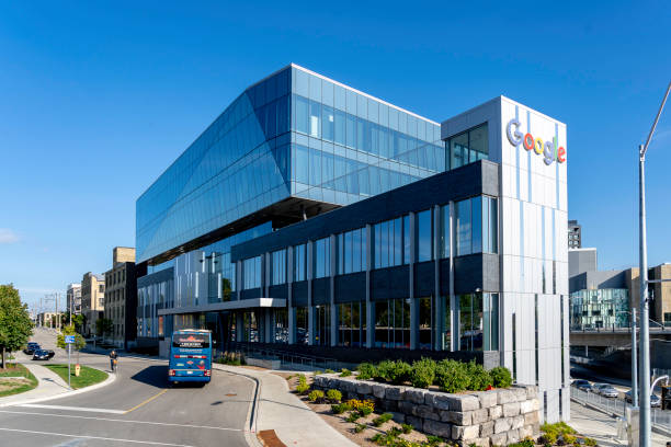 A bus at Google Canada Kitchener-Waterloo office buildings,Canada stock photo