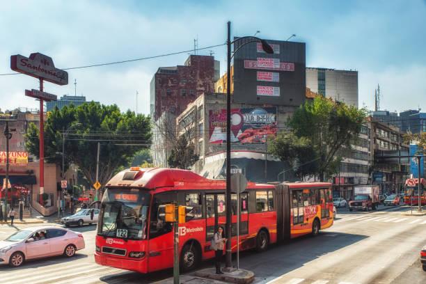 Bus at Mexico City mexico City, Mexico - February 15, 2018:  City Bus at Mexico City bus rapid transit stock pictures, royalty-free photos & images