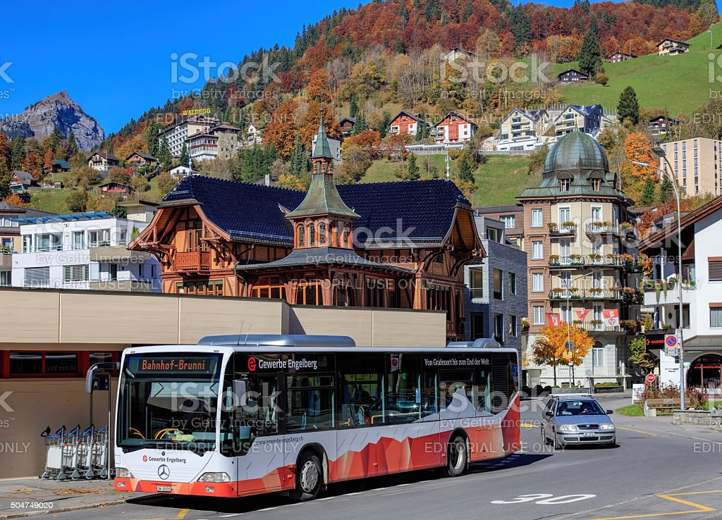 Bus at the Engelberg railway station entrance stock photo