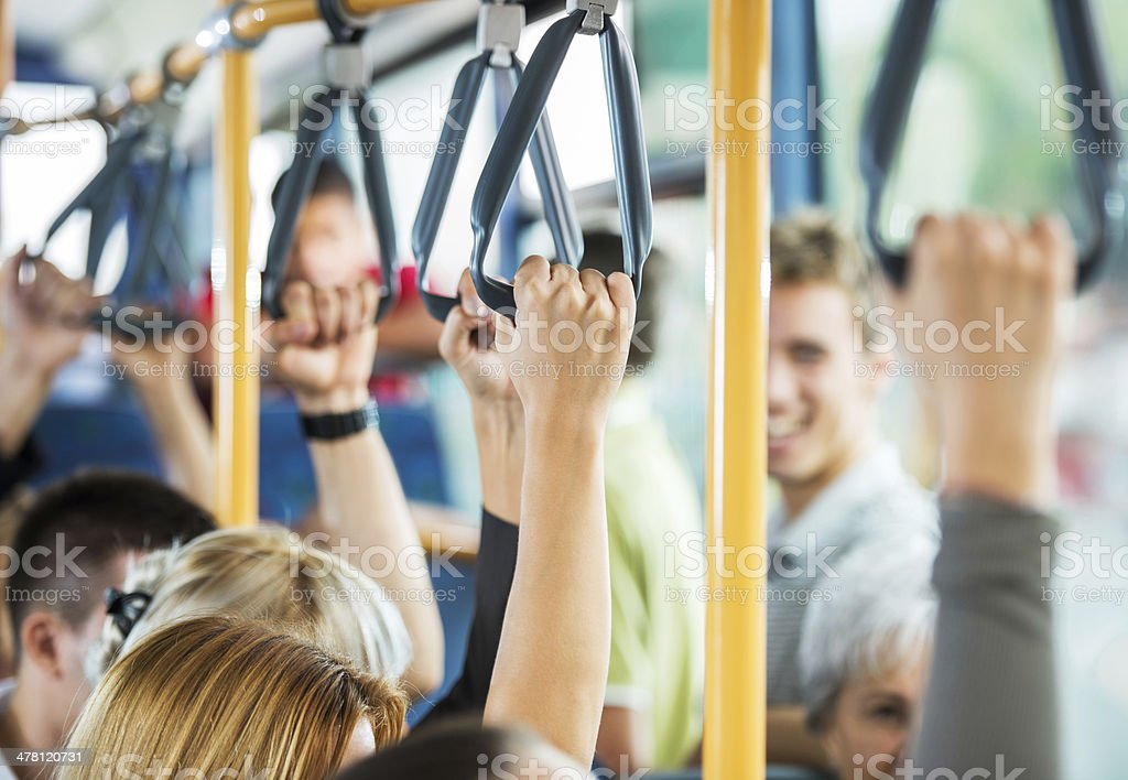 Bus commuters. stock photo