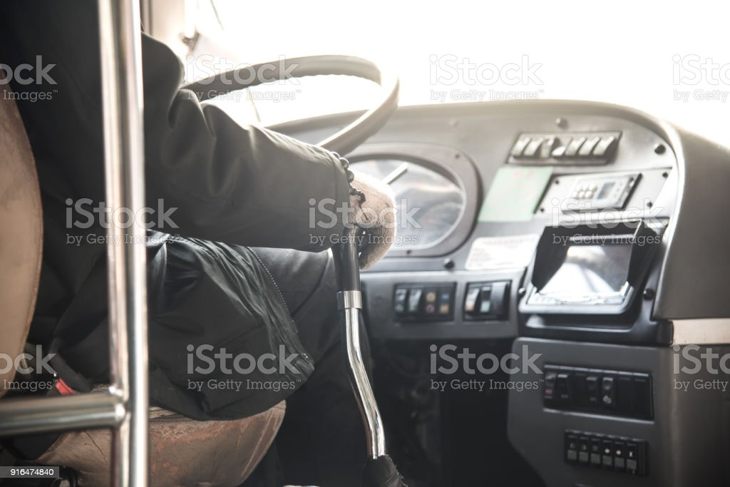 Bus driver in city. stock photo
