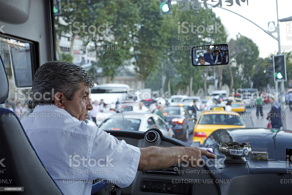 Bus driver in traffic jam, Istanbul stock photo