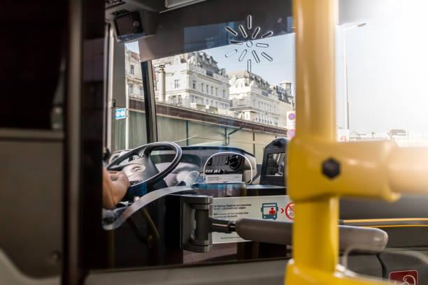 Bus driver Public transport, Bus driver in European city, Vienna Austria April.11, 2018 bus rapid transit stock pictures, royalty-free photos & images