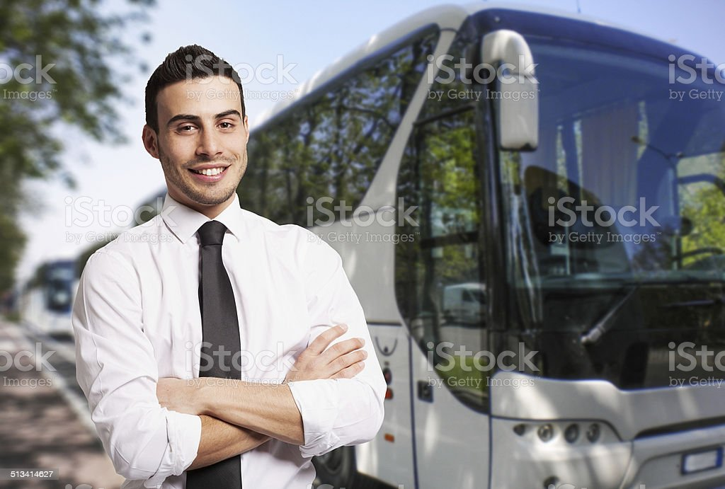 Bus driver portrait stock photo