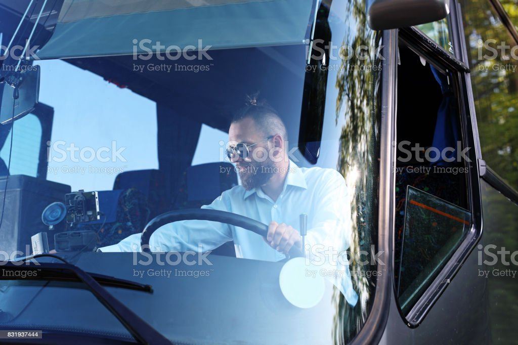 Bus driver. Public bus driver. stock photo