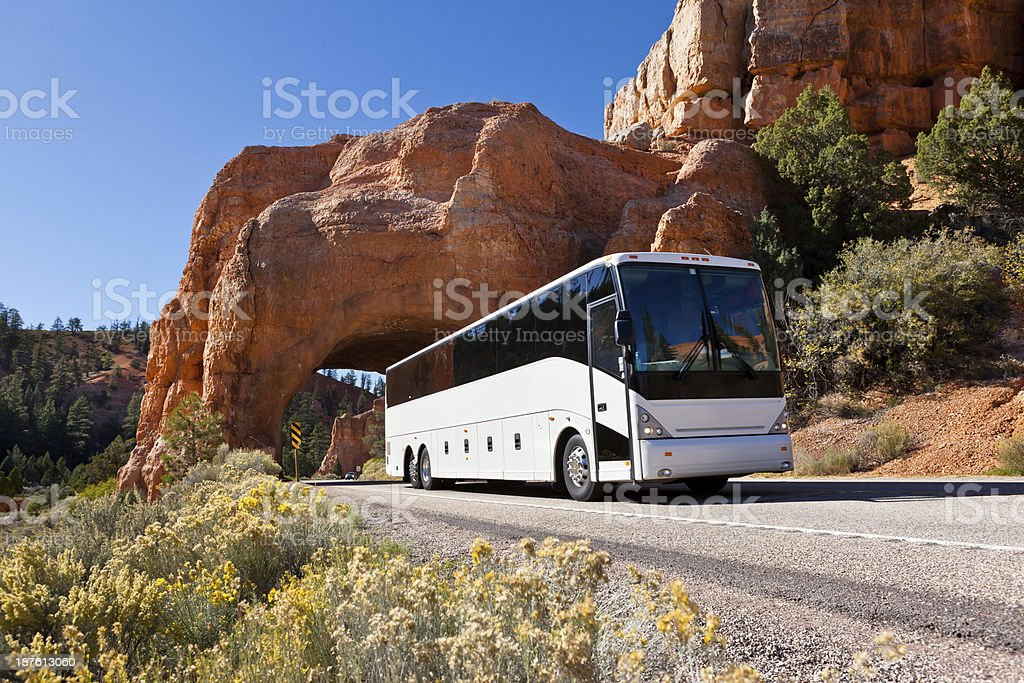 Bus driving through tunel Bryce Canyon USA stock photo