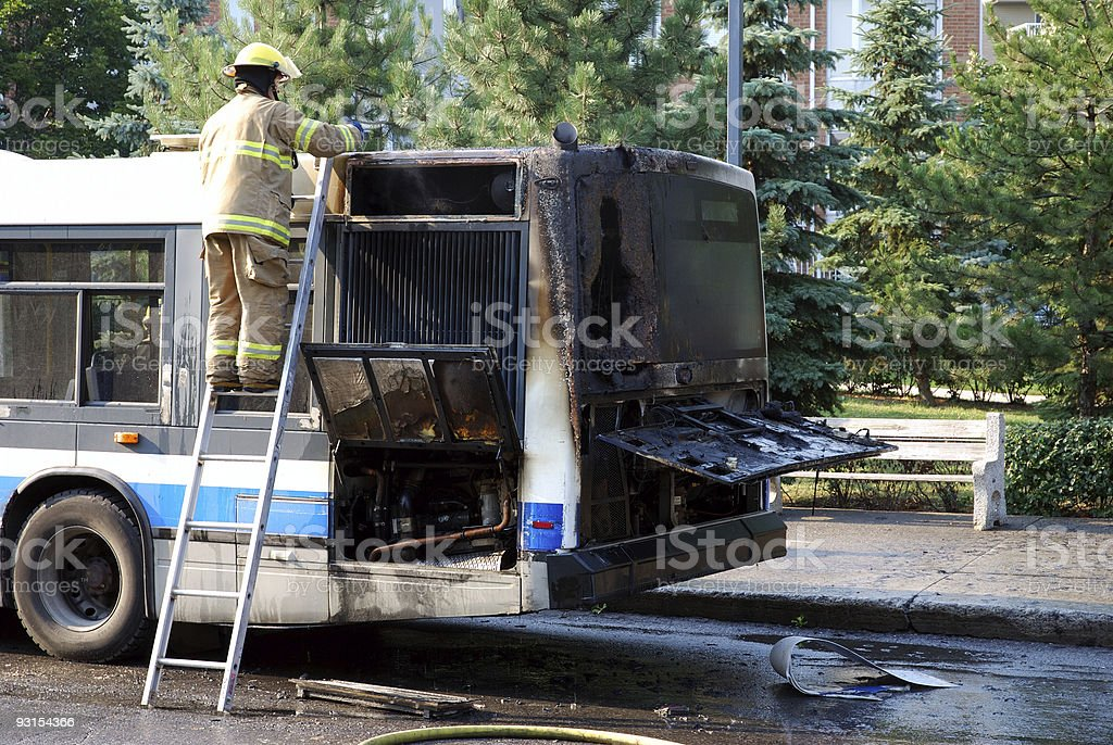 Bus - engine fire royalty-free stock photo