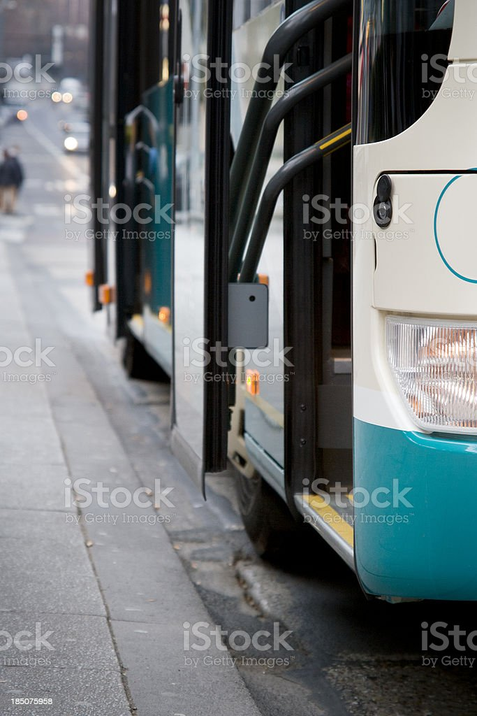 Bus entrance, close-up stock photo