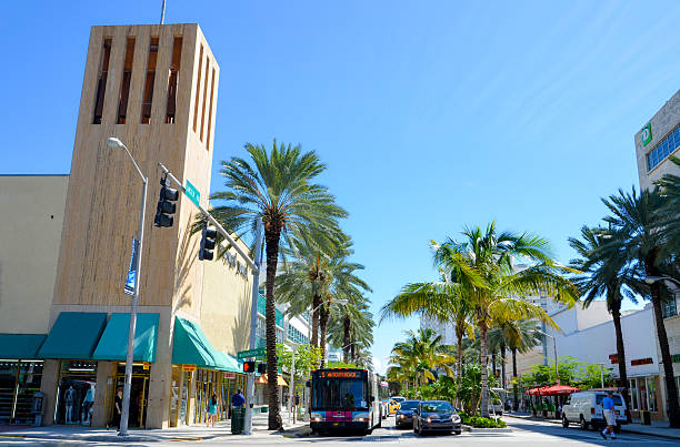 Bus going to South Beach in Miami stock photo