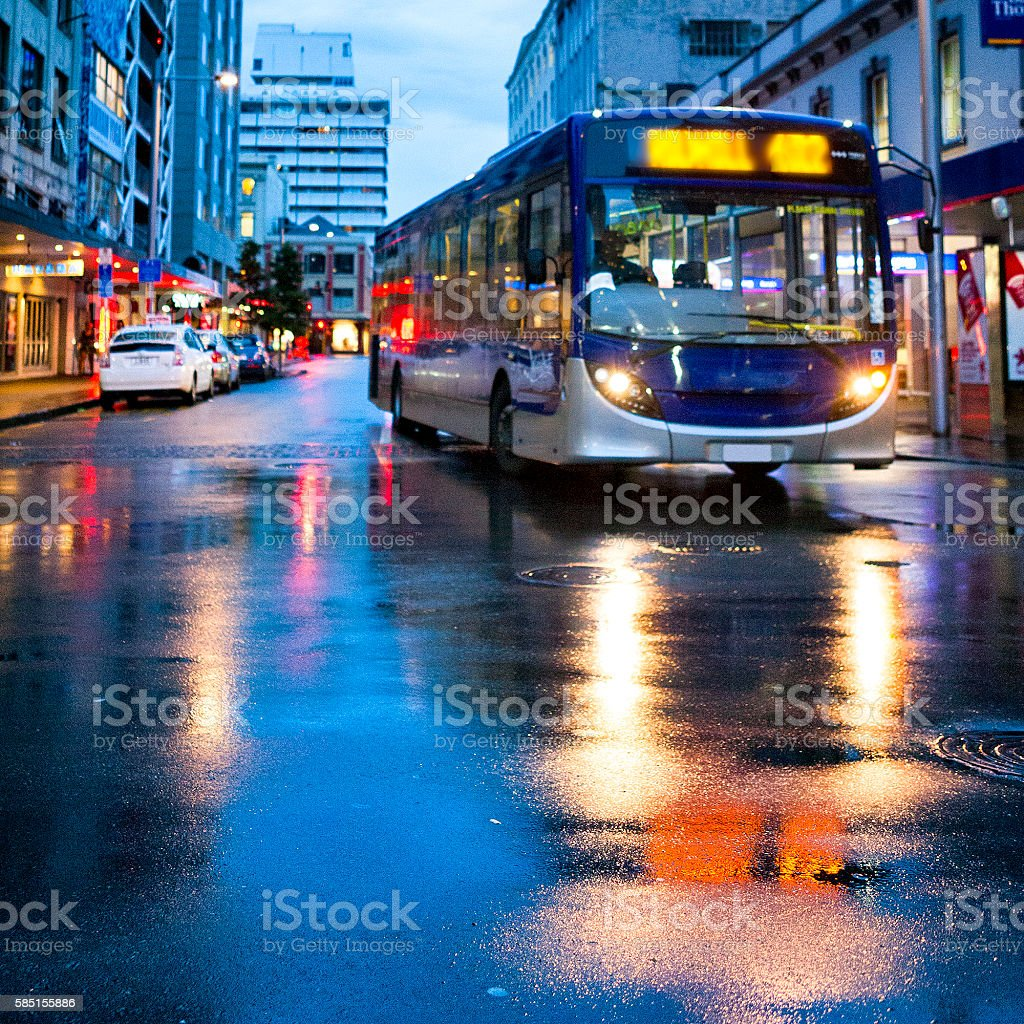 Bus in downtown Auckland, New Zealand stock photo