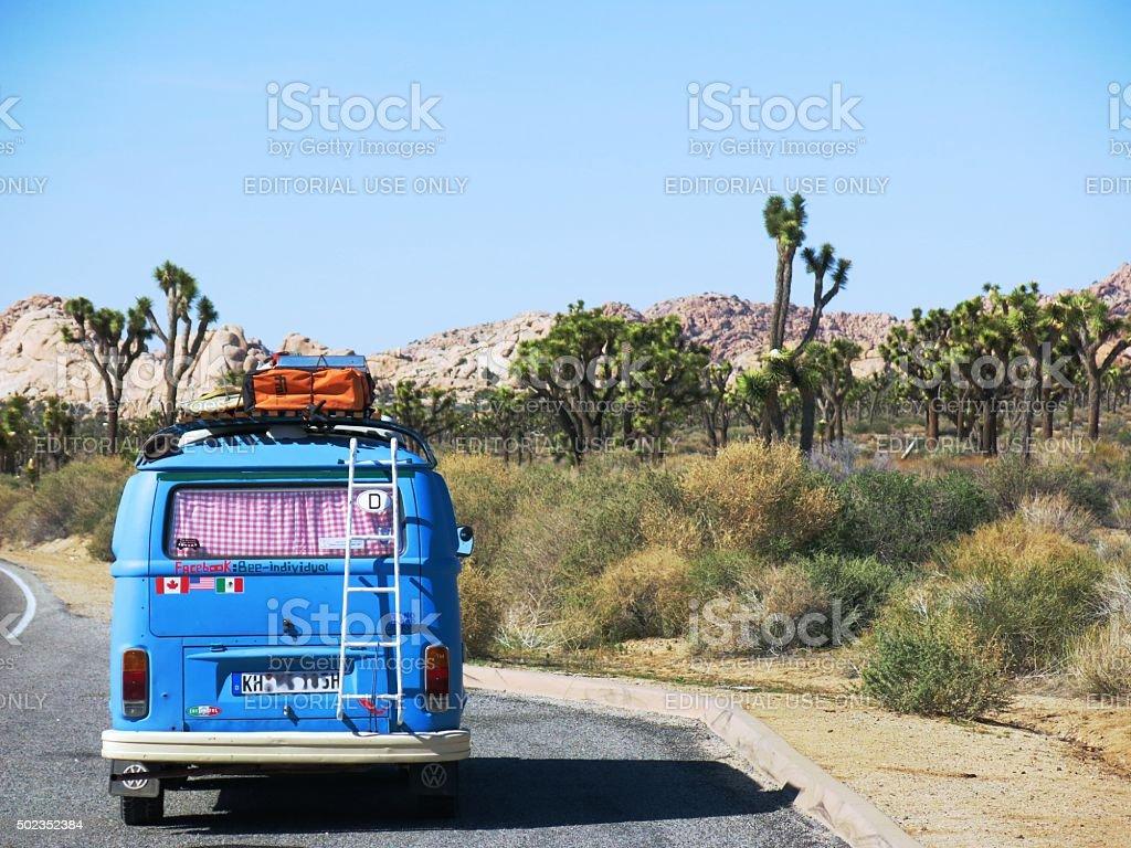VW Bus in Joshua Tree National Park stock photo