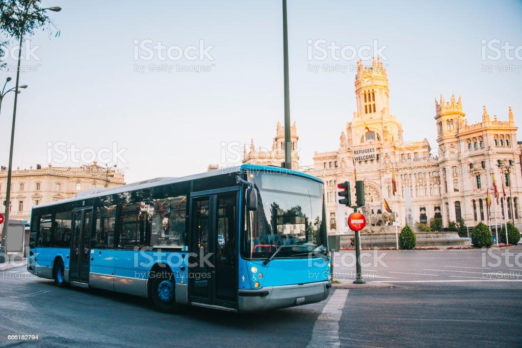 Bus in Madrid stock photo