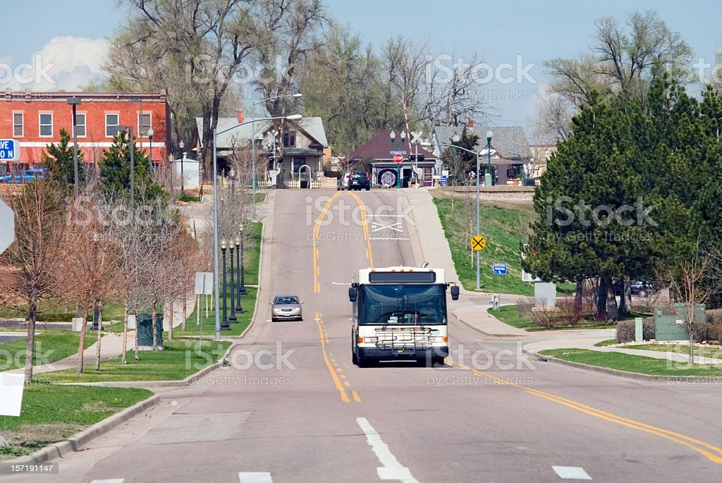 Bus in Old Town Arvada stock photo