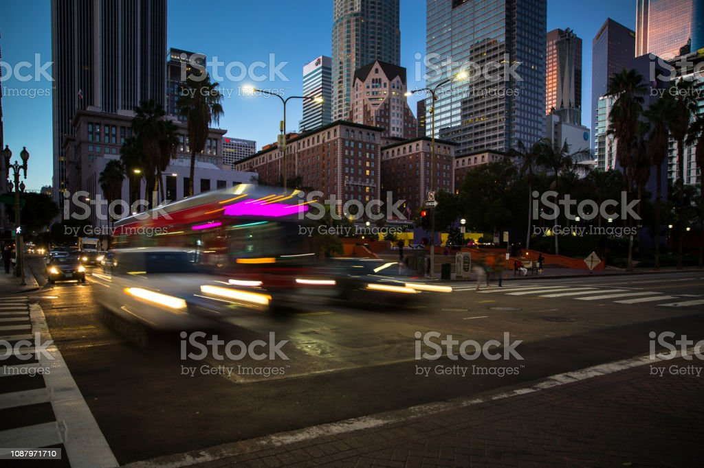 Bus in Pershing Square, Los Angeles stock photo