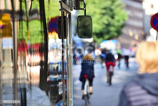 1060957508 istock photo Bus in the city, rush hour, traffic out of focus 593324404