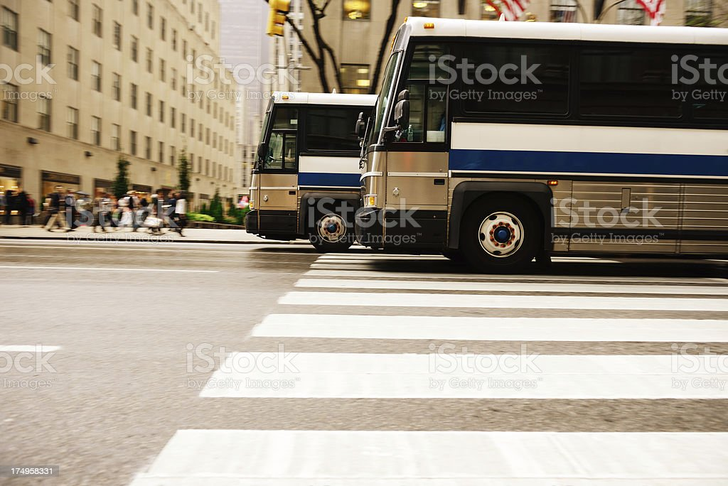 Bus in the city traffic, rush hour, NYC stock photo