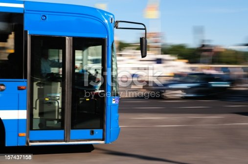 1060957508 istock photo Bus in the city traffic, rush hour 157437158