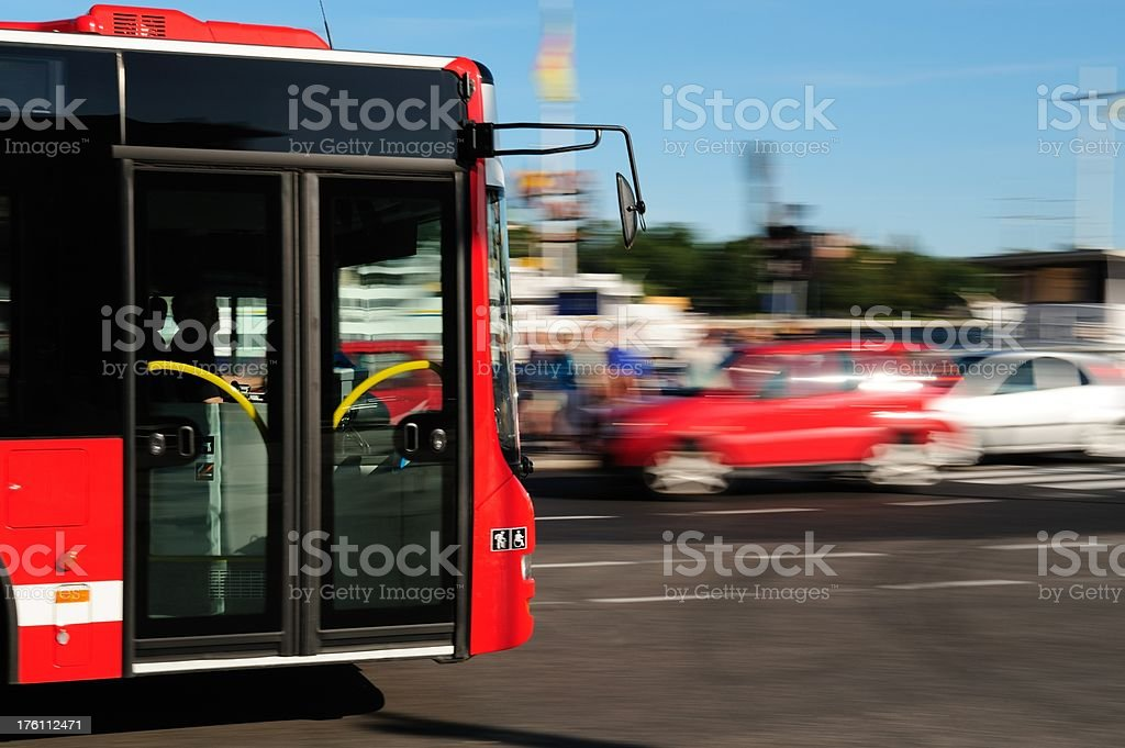 Bus in the city traffic, rush hour stock photo
