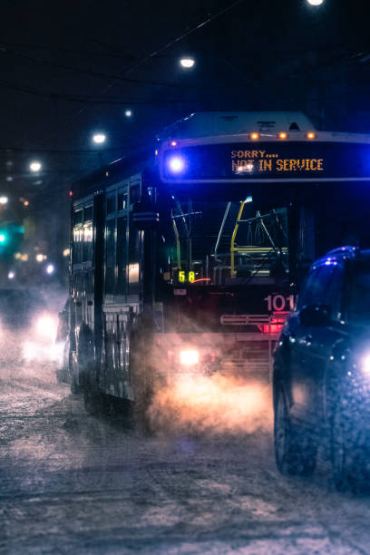A bus in Toronto not in service during a winter storm