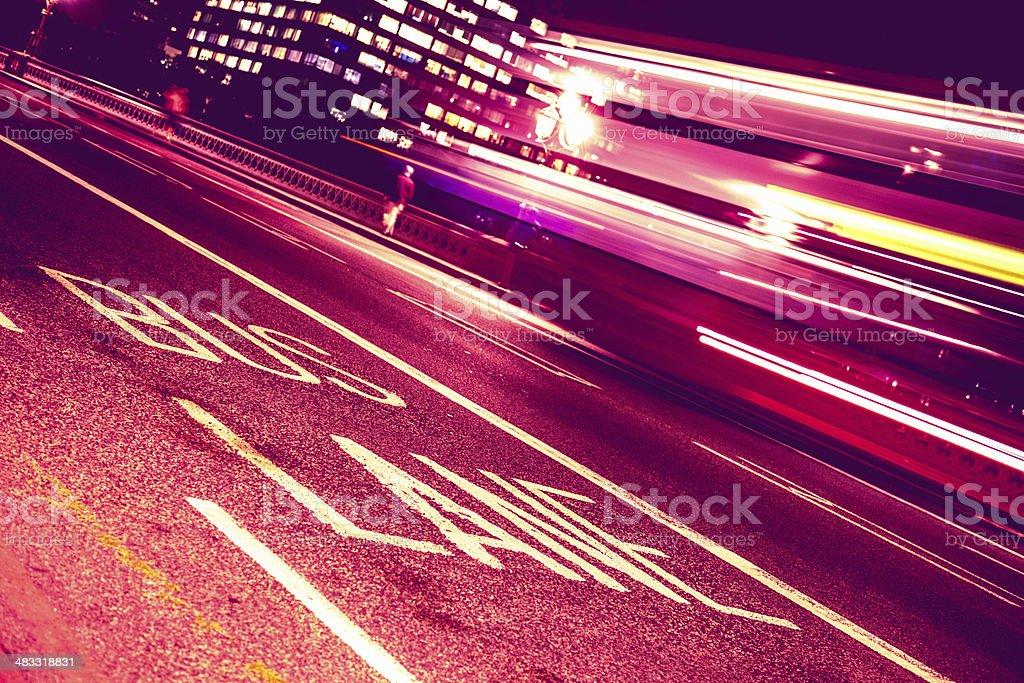 Bus lane in London, Westminster Bridge royalty-free stock photo
