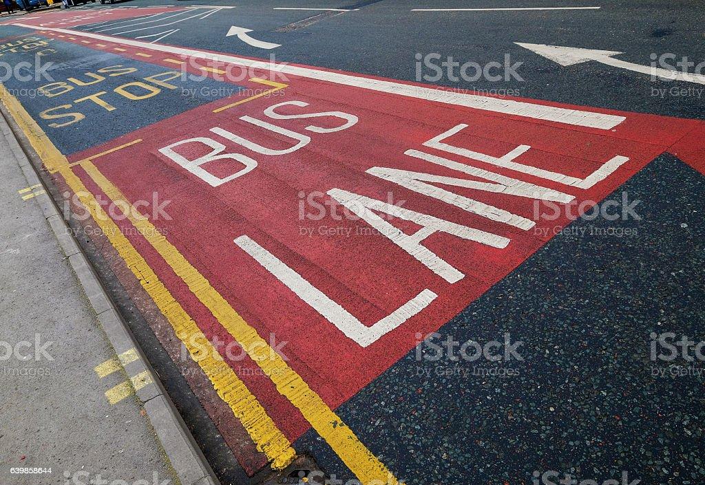 Bus Lane on City Street stock photo