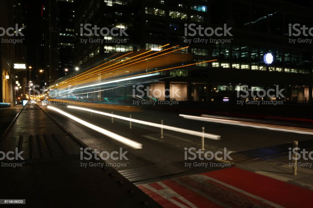 Bus lights long exposure stock photo