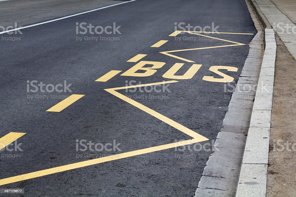 Bus marks in the road stock photo