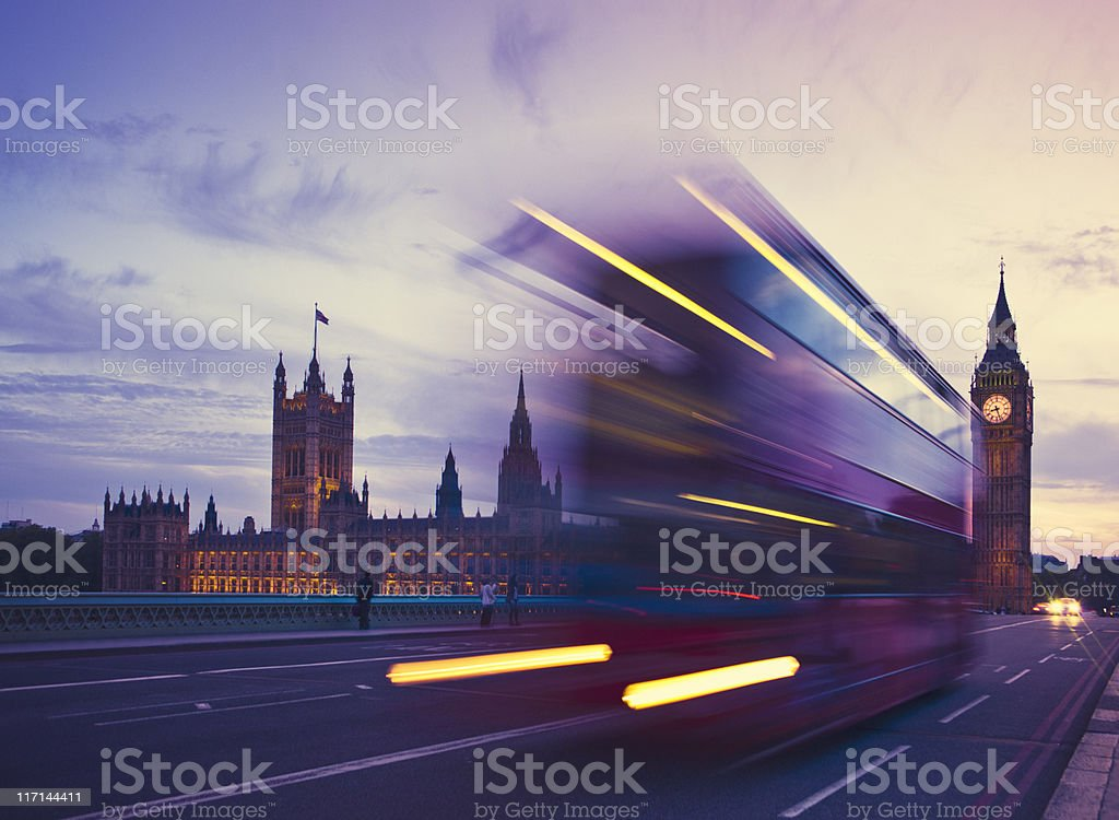 Bus motion blur and Big Ben Tower Clock stock photo