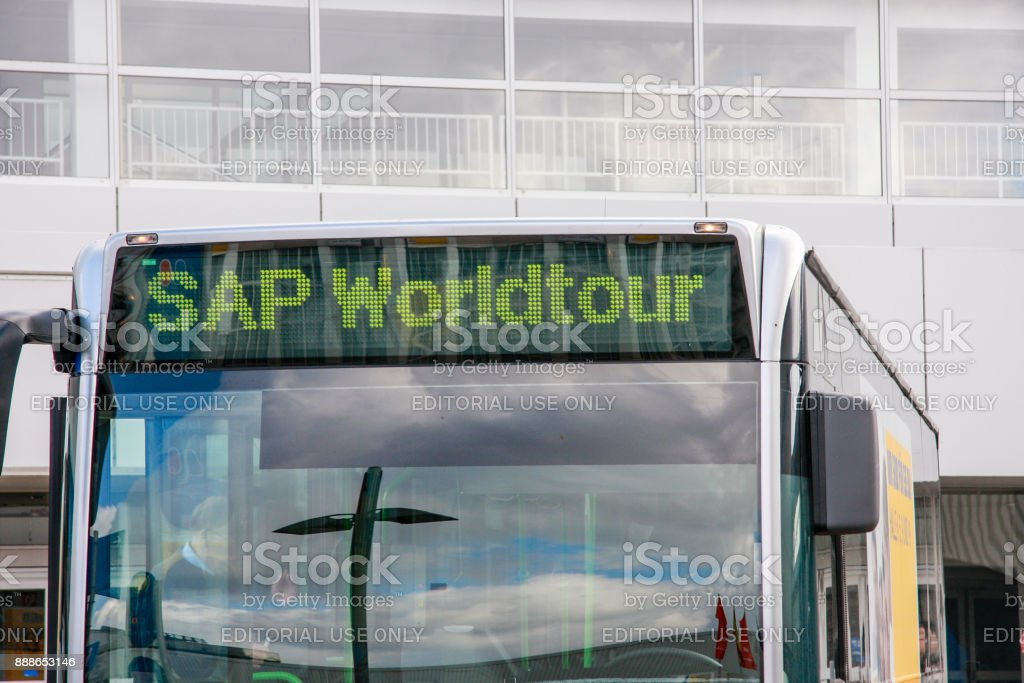 Bus of SAP Worldtour program at CeBIT trade show in Hannover, Germany on March 2, 2010. stock photo