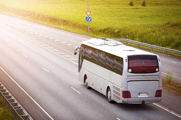 Bus on asphalt road in beautiful summer evening stock photo